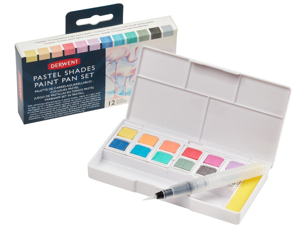 Akvarellvärv Derwent Pastel 12x1/2 nööpi+pintsel veehoidjaga